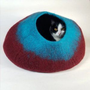 Maroon and Teal Cat Cave | Pet Bed